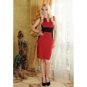 Элегантное красно-черное платье