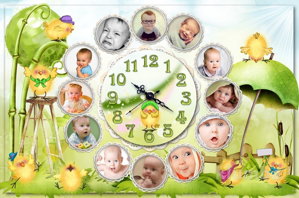 шаблон для фото по месяцам до года белочка шишкой лапах