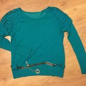 Бирюзовый  легкий свитер, 48 размер