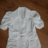 Новая!!  Блуза школьная для девочки с коротким рукавом р 134. Распродажа остатков. Цена шара! Замеры