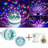 Светодиодная вращающаяся разноцветная LED лампа в патрон+переходник под розетку. Качество супер!!!