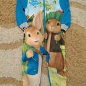 Милый флисовый слип Peter Rabbit на молнии, рост 98 см