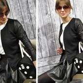 Снова в наличии!!!Куртка - жакет с кожаными рукавами, 2 цвета, 42,44,46 размеры!!!