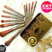 Профессиональный набор кистей для макияжа Kylie Jenner Make-up brush Gold set 12 шт в коробке.