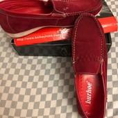 Мокасины красные,набук.Одеты 2 раза,р.45,стелька 29 смна узкую и среднюю ногу