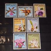 Почтовые марки. Кампучия. 1988 год. серия 7 марок. Флора. Цветы. Орхидеи.