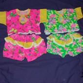 Яркий костюмчик на лето для маленькой принцесы, р.28 и футболочка с вышивкой р.26, 100% хлопок