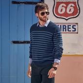 Стильный мужской полосатый  пуловер от ТСМ чибо германия, размер М