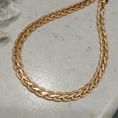 шикарный браслет, красивое плетение коса с насечками, шир 4.5 мм, 21.3 см, позолота 585 пробы