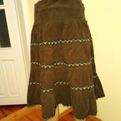 теплая юбка миди вельветовая болотного цвета