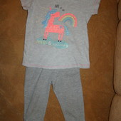 Милый набор с блестящим единорогом 5-6 лет футболочка+ лосины