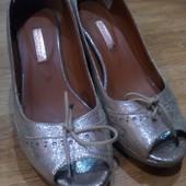 Кожаные туфли с открытым носом,24,5 см