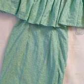 Платье со спущенными плечами и волаом, Тиффани, миди, мятное