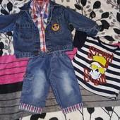 Комплект джинсовая куртка+ футболка+ рубашка+бриджи джинсовые на 2-3 года
