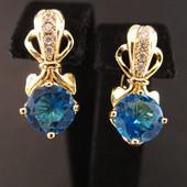 Последние!!!Очаровательные очень нежные серьги с голубыми  фианитами позолота 585 пробы УП-15 грн