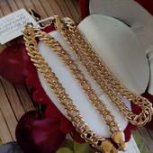 шикарный мощный широкий браслет плетение бисмарк ромб, ширина 5/5.5 мм, позолота 585 пробы