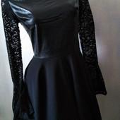 Шикарное платье эко-кожа, костюмка+кружево. Дорогая закупка! Elegance collection.