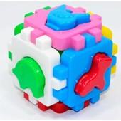 """Развивающий логический куб-сортер с фигурками """"Розумний малюк свійські тварини ТехноК"""""""