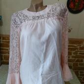 Новая очаротельная блузочка на пышные формы! Креп-шифон+гипюр! Пудра!