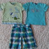 Две фирменные футболки и шорты одним лотом в хорошем состоянии на 1-1.5года