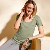 ☘ Стильная базовая футболка цвета хаки, 100% хлопок, Tchibo(Германия), размеры: 42-48 (36/38 евро)