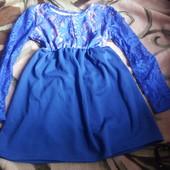 Платье с гепюром повсекдневное для девочки! Смотрите замеры! В лоте цвет синий.на 5-6лет