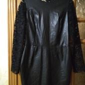 Шикарное платье Zara кожа+кружево, состояние нового