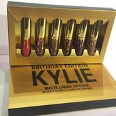 Жидкая матовая помада Kylie Birthday Edition Gold (набор 6 штук)