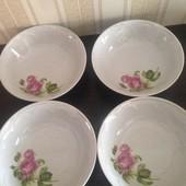 Очень качественные тарелки из белого фарфора с розой, новые