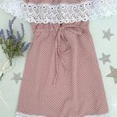 Милое платье*Маниша* на девочку в горошек, приятная ткань, удобный фасон, р.134!единственное!