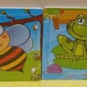 3 в 1 - Пчелка+Лягушка+Бабочка! Яркие деревянные пазлы с подслоем (9 элементов)