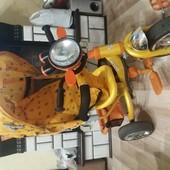 Детский велосипед с родительской ручкой. Azimuth Trike. Свет, шум мотора , музыка!