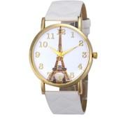 Красивенные часы Париж Эйфелева башня ремешок бело-молочный пу кожа