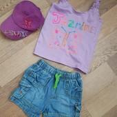 Супер лот на лето. Полный комплект- майка,шорты, кепка на 3-5 лет