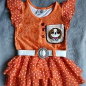 Одно на выбор.Красивые оранжевое или малиновое платьица на 2-3 года