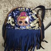 Рюкзак детский с бахромой, пайетками и мигалками