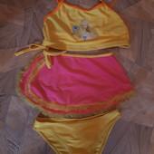 Яркий крутой купальник девочке 6-8 л, р. Xxl,  см.замеры. 3 в одном!!!