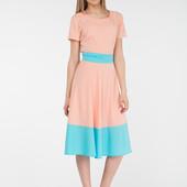 Платье миди с поясом цвет персик R804. Размер Л-ка.