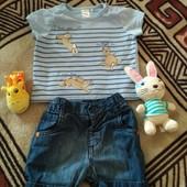Набор (футболка-шорты),  0-3 месяца
