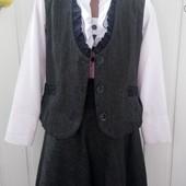 Стильный нарядный костюм юбка и жилетка с кружевом.Lakshmi Mix  . 128-134