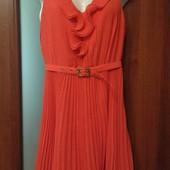 Фирменное красивенное платье из шифона цвета лосося р. 6-8, отличное состояние.