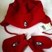 Набор шапка + варежки до года флисовый