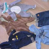 Пакет теплых фирменных вещей на малыша 3-6 месяцев