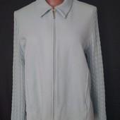 Очень классная куртка из микрофлиса+вязаные рукава,от M&S,44%коттон,20р(3xl/4xl)