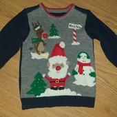 Музыкальный свитер с новогодним рисунком 2-3года замеры