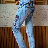 Шикарные, дорогие джинсы lempica в идеале - вишивка, кожа!26-27 размер