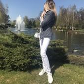 Шикарные джинсы белые брюки скинни со шнуровкой