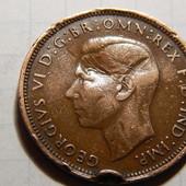 Монета. Великобритания. 1/2 (пол пенни) 1945 года! Король Георг. Парусник. Корабль.