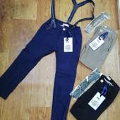 Котоновые брюки для мальчиков с подтяжками SK 4 кофейні