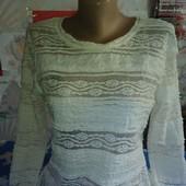 Ажурная блузка сливочного цвета на 46-48(ук.)